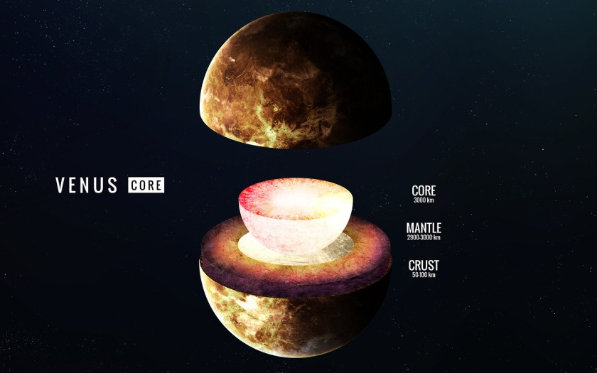 Venus inner structure. Elements of this image furnished by NASA